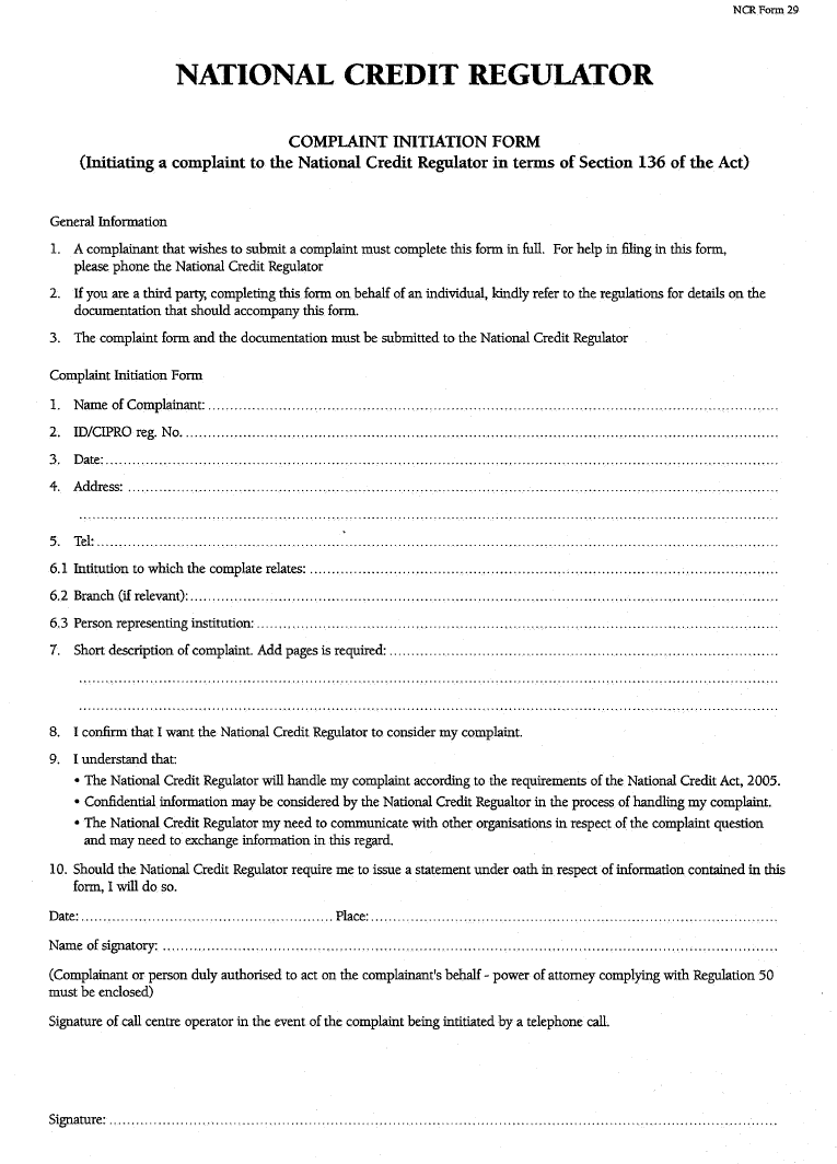 NCR Form 29